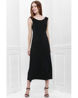 Bohemian Style Delicate Scoop Neck Solid Color V-Shape Backless Black Sleeveless Maxi Dress