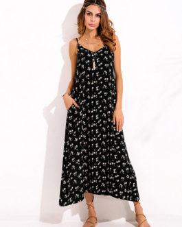 Bohemian Floral Spaghetti Strap Long Maxi Dresses