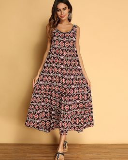 Bohemian Printed Sleeveless Maxi Dresses