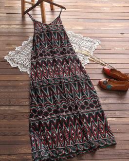 Bohemian V-neck Spaghetti Strap Maxi Dresses