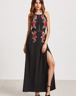 Floral Embroidered Backless Slit Hem Halter Maxi Dresses