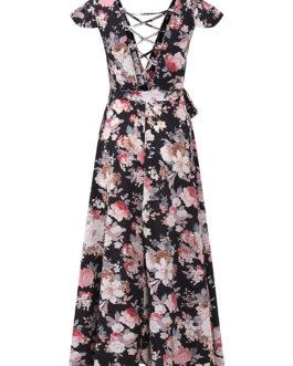 Floral Print Backless Criss-cross Splited V-neck Maxi Dresses