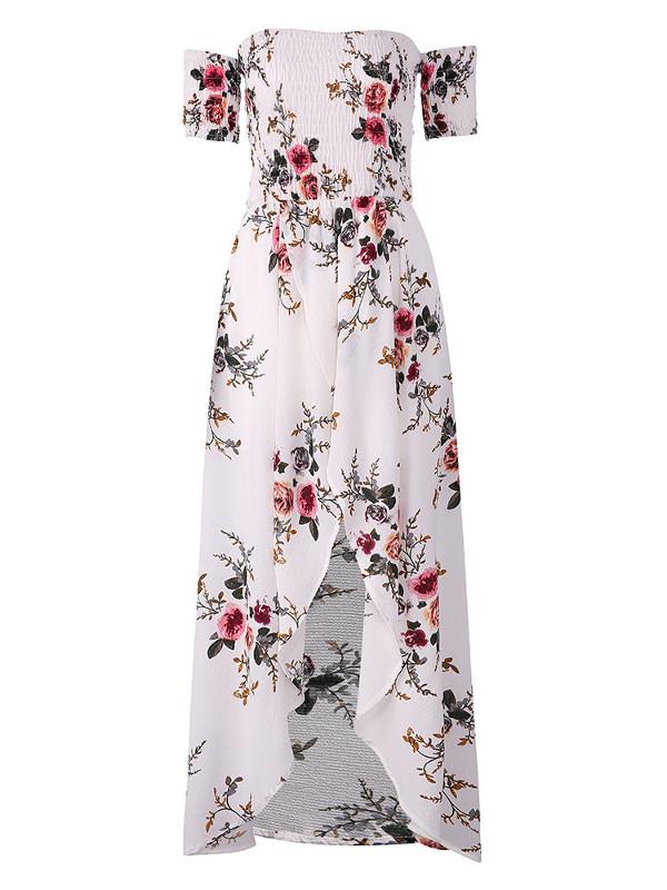 e080b6381953 Floral Print Off-shoulder Slit Hem Short Sleeve Maxi Dresses - Power ...
