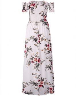 Floral Print Off-shoulder Slit Hem Short Sleeve Maxi Dresses