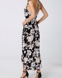 Floral Slit Hem Halter Sleeveless Maxi Dresses