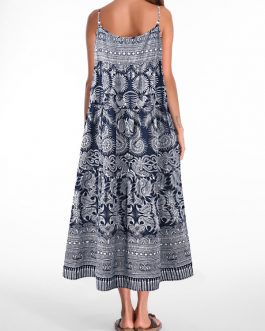 Vintage Spagehtti Strap Ethnic Printed Dresses