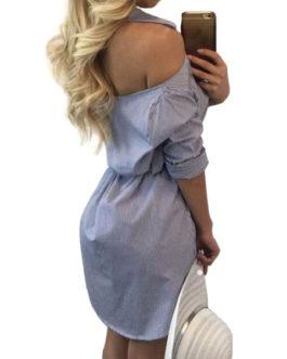 Long Sleeve Turndown Collar Striped Backless Short Dress