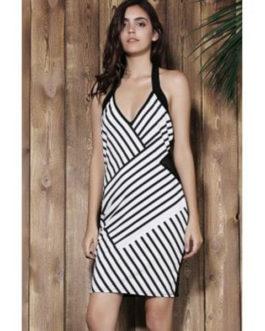 Alluring Halter Sleeveless Striped Dresses