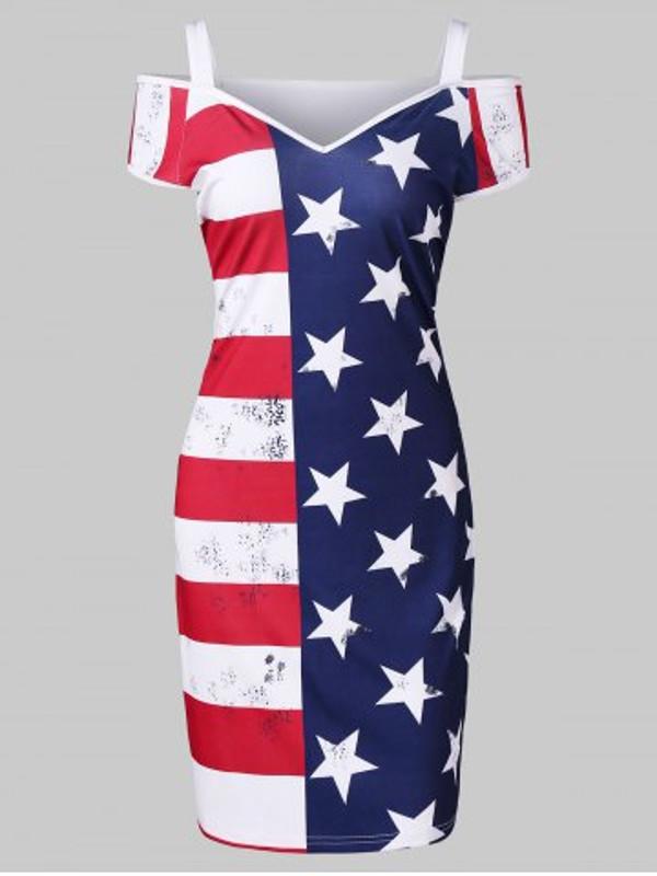 American Flag Cold Shoulder Dress - Power Day Sale