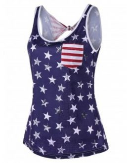 American Flag Open Back Tank Top