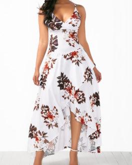 Asymmetric Hem Flower Slip Dresses