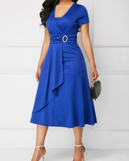 Asymmetric Hem Short Sleeve Dresses