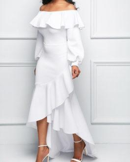Asymmetric Ruffle Hem Lantern Sleeve Dresses