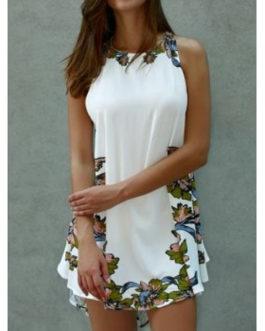 Asymmetrical Floral Lace-Up Dresses
