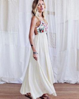 Backless White Dress Floral Print Slip Dress