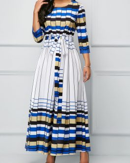 Belted Three Quarter Sleeve Dresses