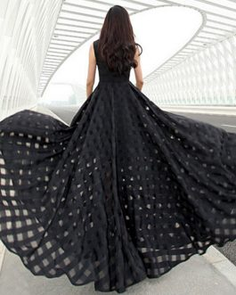 Black Cut Out Polyester Maxi Dress for Women