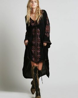Black Maxi Dress Ethnic V Neck Long Sleeve Embroidered High Low Cotton Dress