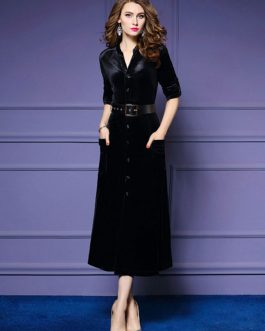 Black Maxi Dress Velour Long Sleeve Work Dress V Neck Women Shirt Dress