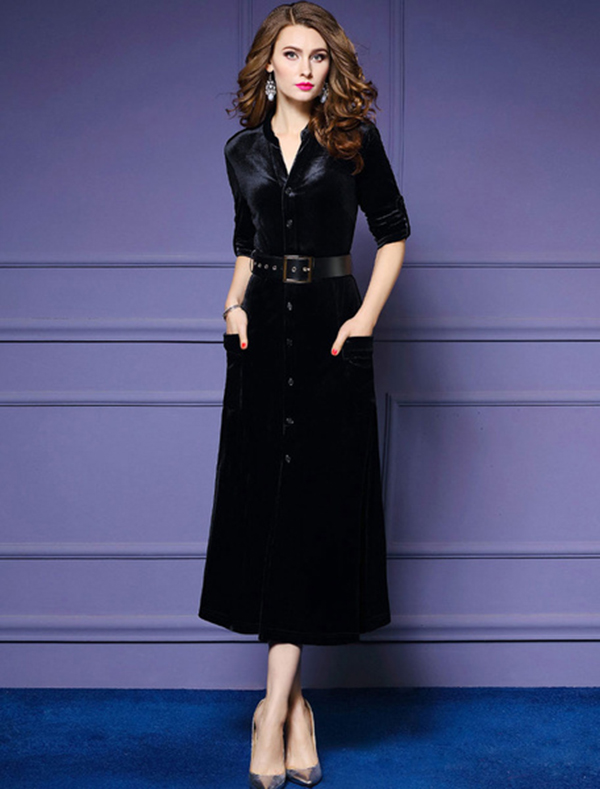 Black Maxi Dress Velour Long Sleeve Work Dress V Neck Women Shirt
