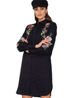 Black Shirt Dress Embroidered Long Sleeve Split Button Spring Dress