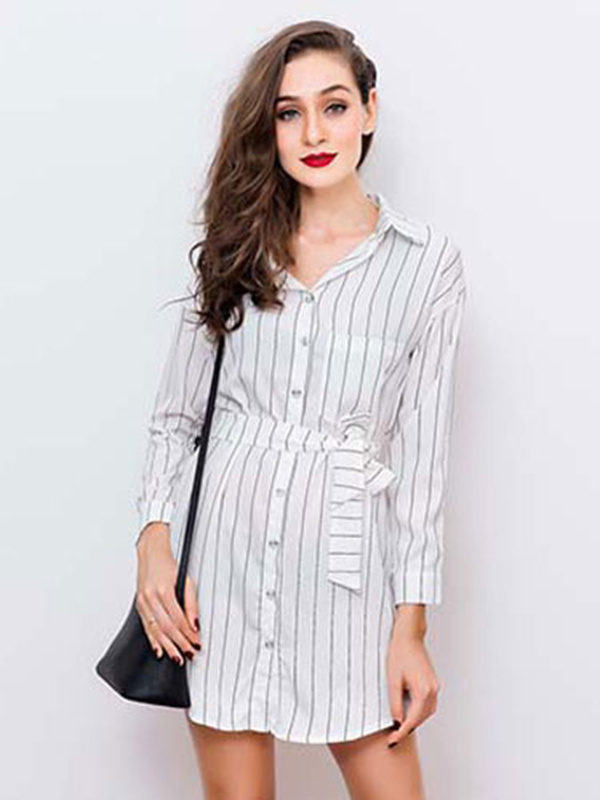 Black Shirt Dress Stripes Women s Long Sleeve Skater Dress With Sash ... 44c731b4900b