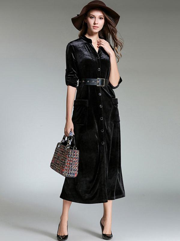 1b6a2e8b2e12 Black Shirt Dresses V Neck Long Sleeve Maxi Dress For Women - Power ...