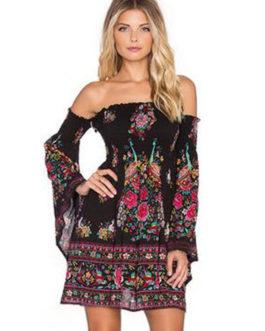 Black Skater Dress Floral Printed Off The Shoulder Bell Long Sleeve Slim Fit Sheath Dress
