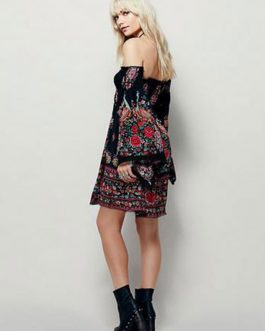 Black Skater Dress Floral Printed Off The Shoulder Bell Long Sleeve Slim Fit Sheath Dress