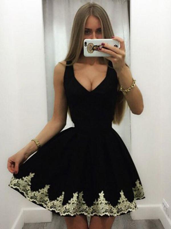 Black Skater Dress Lace V Neck Pleated Women Dress Sleeveless