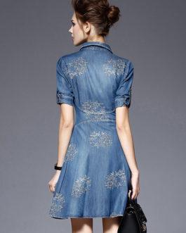 Blue Denim Dress Women's Embroidered Turndown Collar Half Sleeve Half Buttons Skater Dress