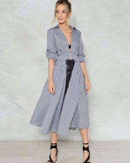 Blue Shirt Dress Long Sleeve Plaid Turndown Collar Women