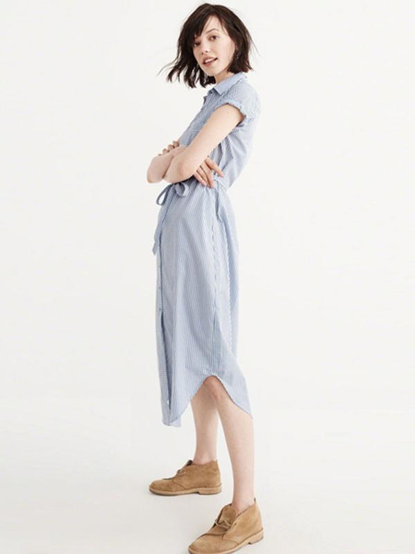9c0e8c967192 Blue Shirt Dress Turndown Collar Short Sleeve Striped Women's Summer ...