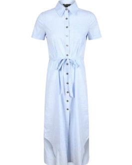 Blue Shirt Dress Turndown Collar Short Sleeve Striped Women's Summer Dresses