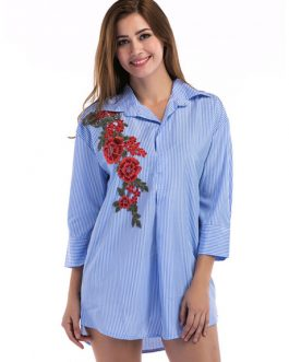 Blue Shirt Dress Turndown Collar Striped Embroidered 3/4 Length Sleeve Short Dresses For Women