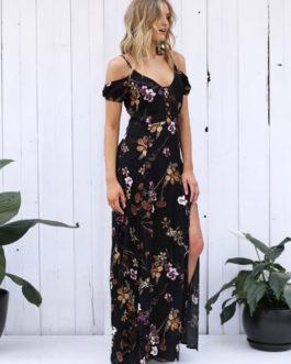 Bohemian Floral Split Lace Up Straps Maxi Dresses