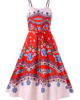 Bohemian Print Spaghetti Strap Dress