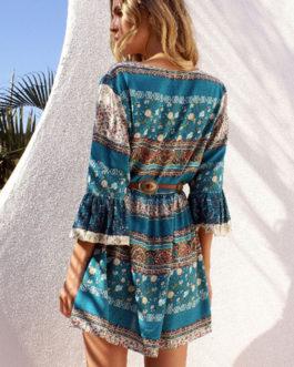 Boho Blue Dress Floral Print Women's Lace Up Bell Sleeve Ruffle Short Skater Dress