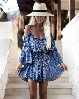 Boho Cold Shoulder Ethnic Ruffle Beach Dresses