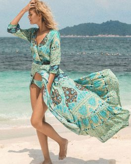 Boho Dress High-low Floral Print Long Dresses For Women Cloth