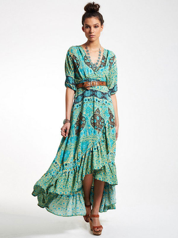 Boho Dress High-low Floral Print Long Dresses For Women ...