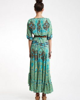 Boho Dress High-low Floral Print Long Dresses For Women Cloth