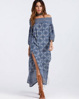 Boho High Slit Three Quarter Sleeve Ethnic Maxi Dresses