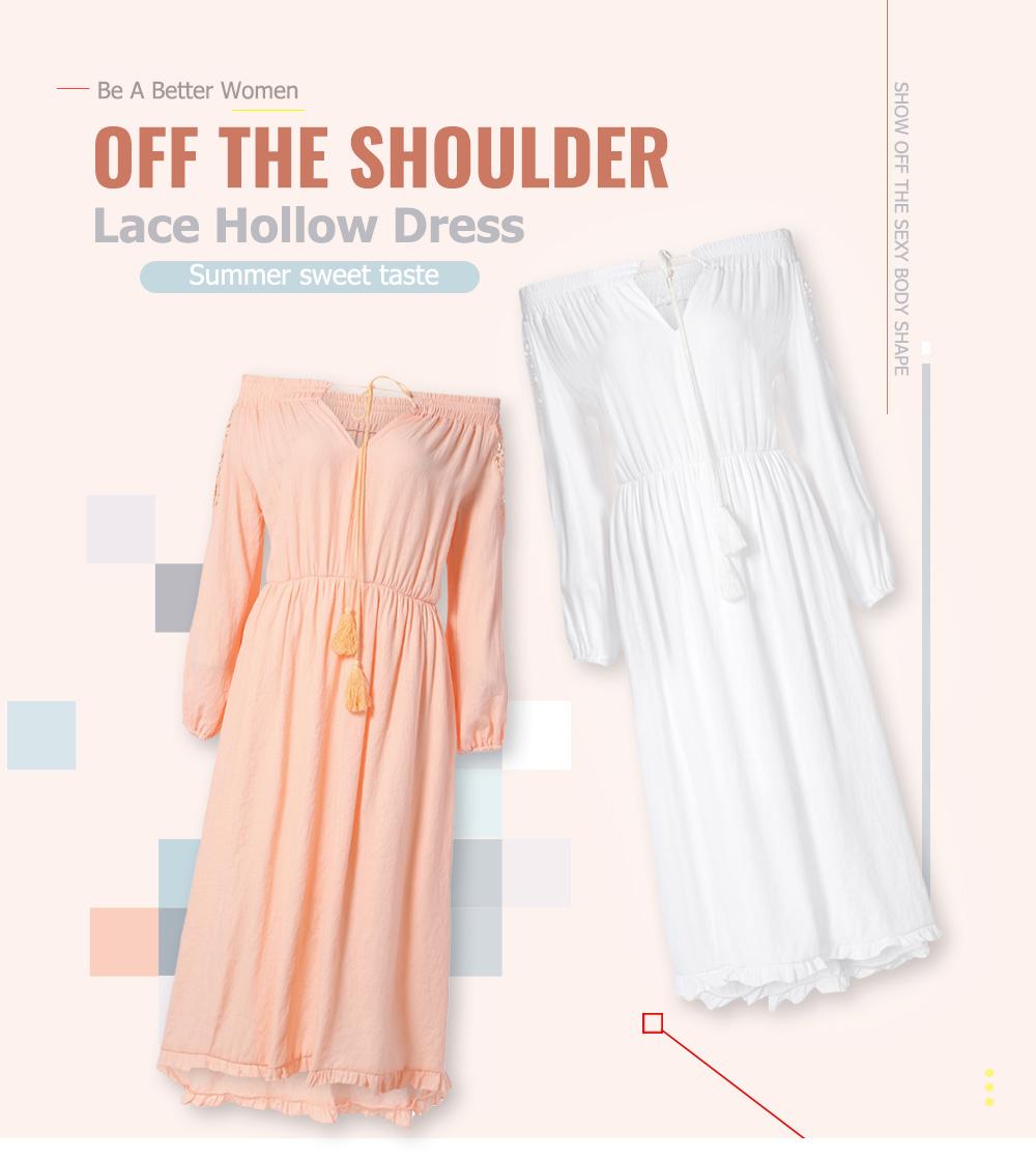 Boho Lace Off The Shoulder Long Sleeve Maxi Dress
