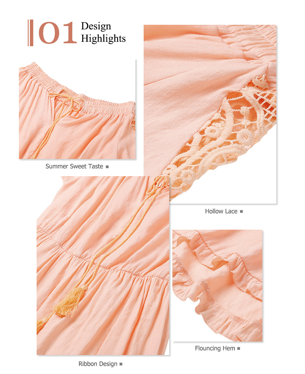 Boho Lace Off The Shoulder Long Sleeve Maxi Dress1 1