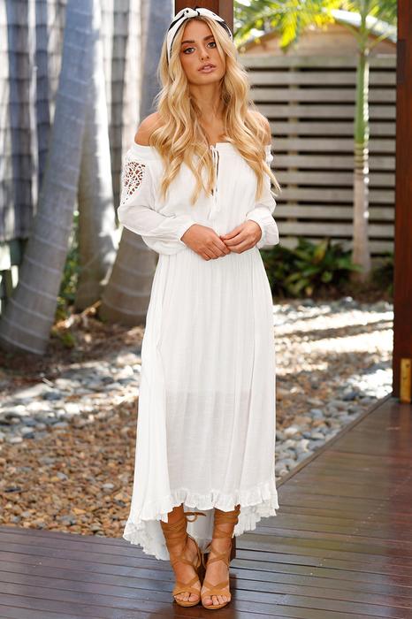 Boho Lace Off The Shoulder Long Sleeve Maxi Dress1