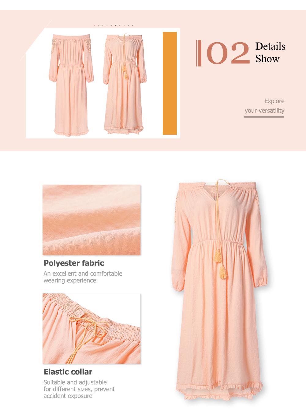 Boho Lace Off The Shoulder Long Sleeve Maxi Dress2 1