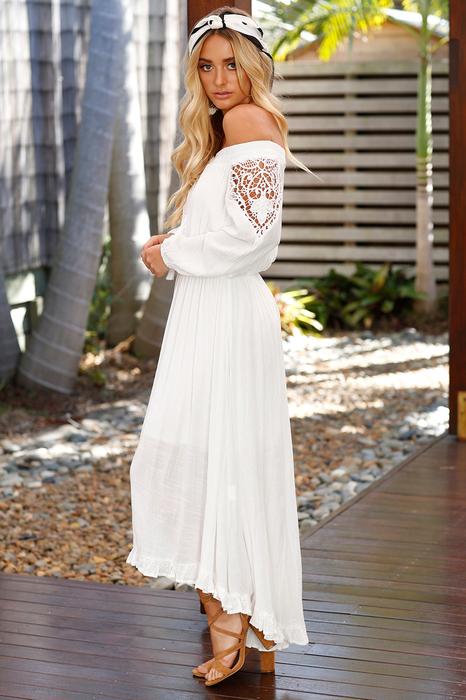 Boho Lace Off The Shoulder Long Sleeve Maxi Dress2