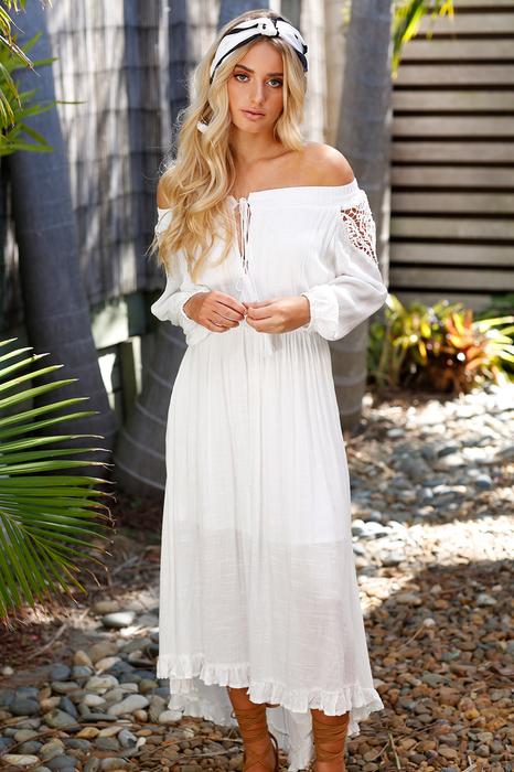 Boho Lace Off The Shoulder Long Sleeve Maxi Dress3