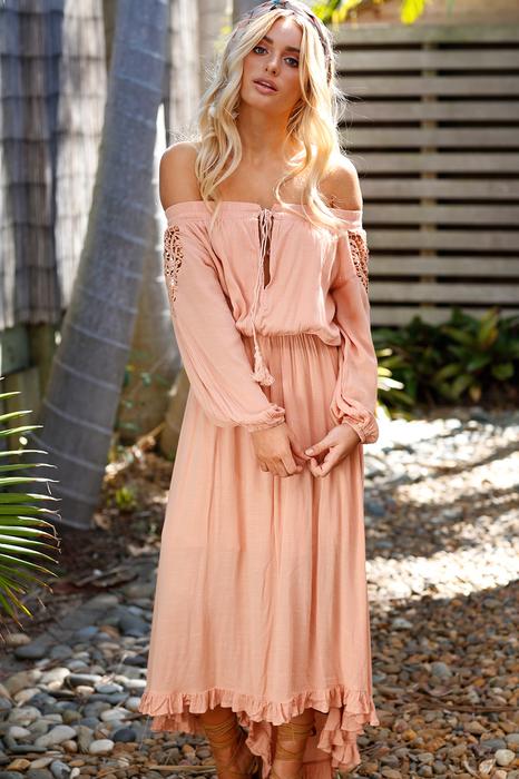 Boho Lace Off The Shoulder Long Sleeve Maxi Dress5